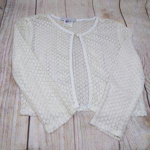 VTG Deadstock Ivory Lace Boho Floral Crop Sweater